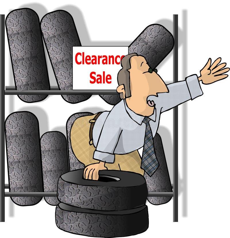 sprzedawca opon ilustracja wektor