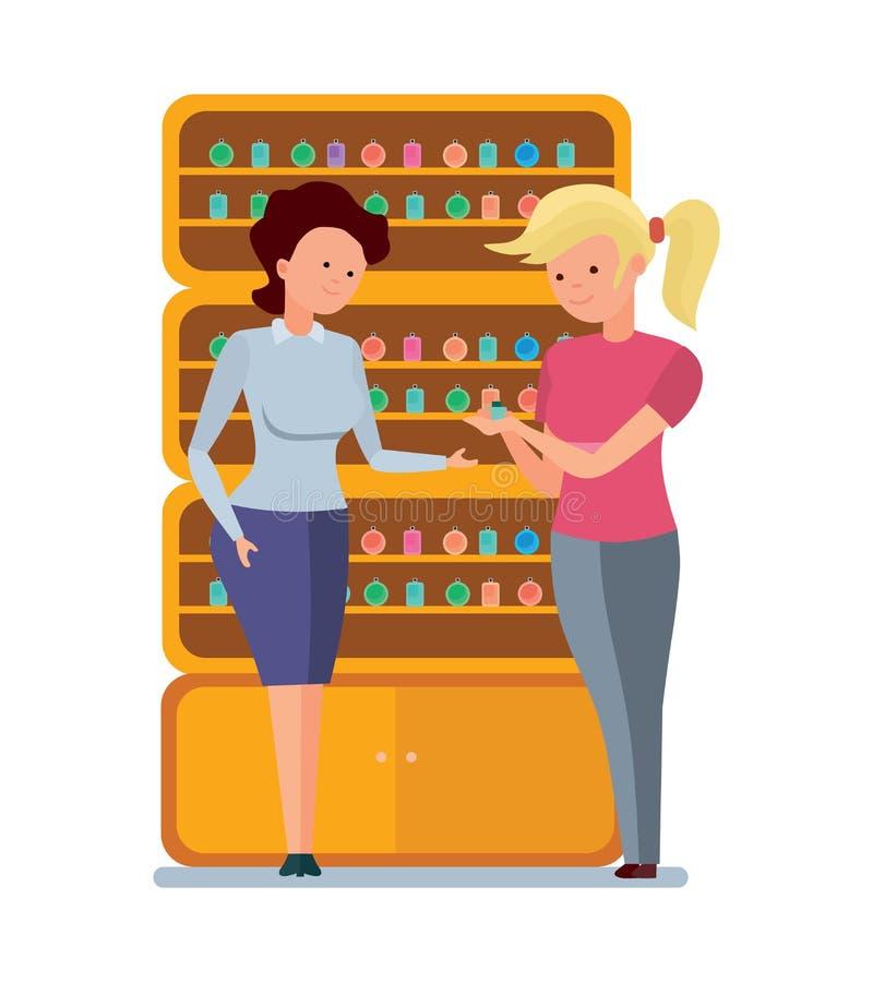 Sprzedawca pachnidła, ofert opcje, demonstruje pachnidło klient ilustracji