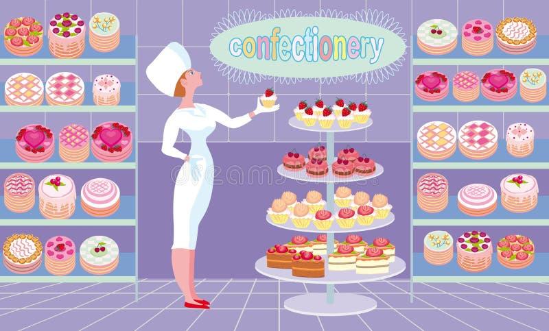 Sprzedawca w ciasto sklepie dumnie demonstruje towary ilustracji
