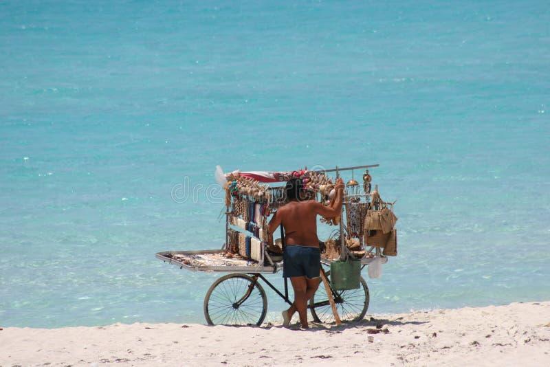 sprzedawca złagodzone na plaży obrazy royalty free