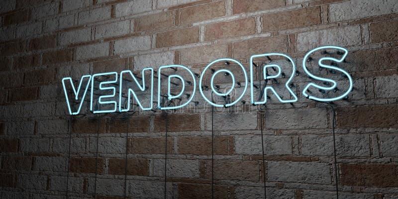 SPRZEDAWCY - Rozjarzony Neonowy znak na kamieniarki ścianie - 3D odpłacająca się królewskości bezpłatna akcyjna ilustracja ilustracji