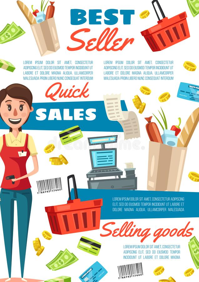 Sprzedawczyni w mundurze, zatrudnia supermarketa kasjera royalty ilustracja