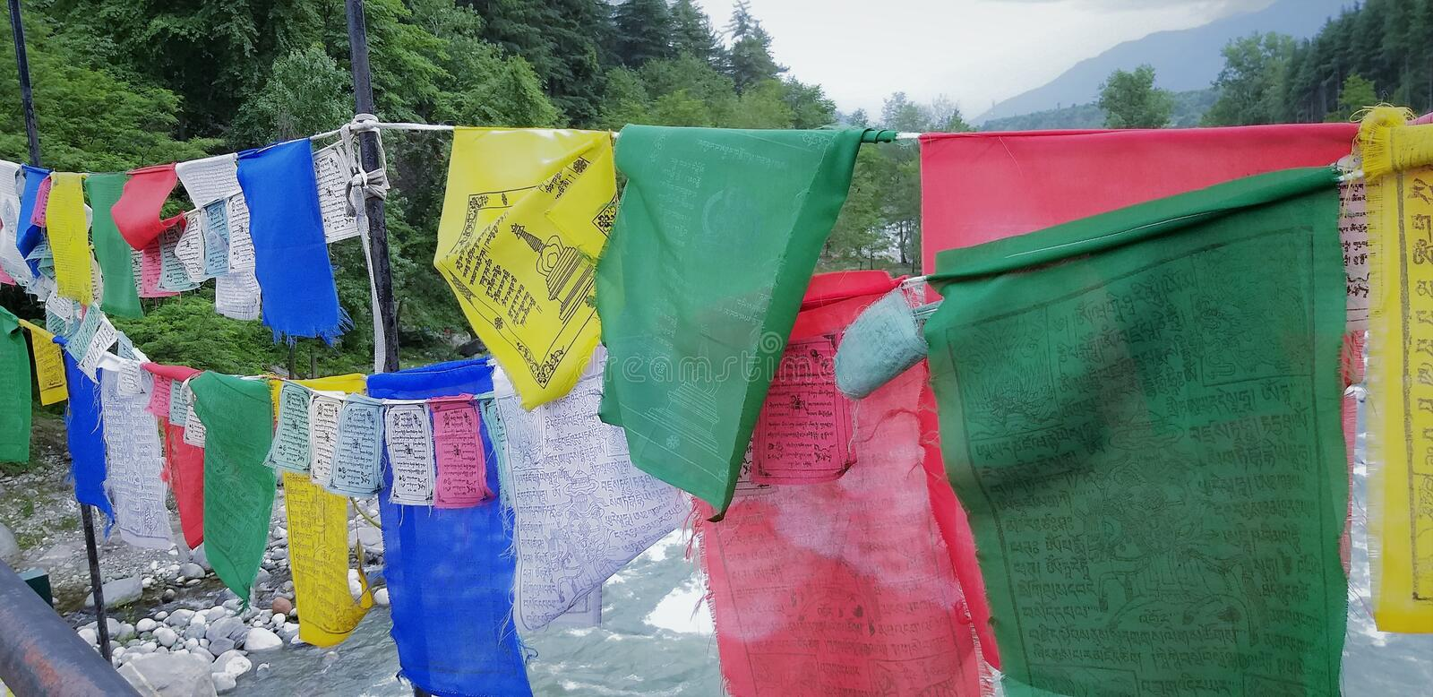 SpSaloni`s Himanchal Tradition; Prayer Flags. Manali a very Beautiful Hill Sattion in Kullu District in the State of Himachal Pradesh, India royalty free stock photos