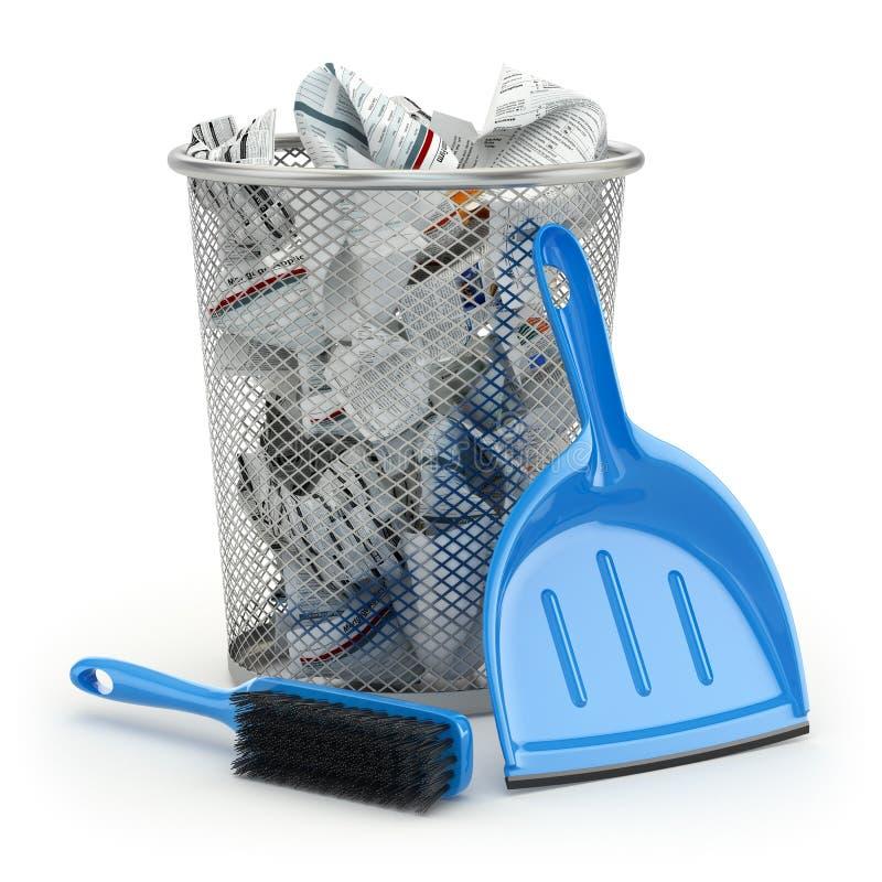 spugne del liquido di lavatura dei piatti di concetto di pulizia Bidone della spazzatura, paletta per la spazzatura o mestolo e s illustrazione di stock