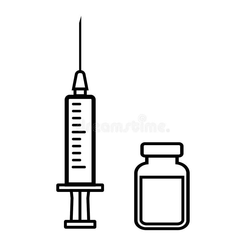 Spuit en flesje geneeskunde Vector illustratie stock illustratie