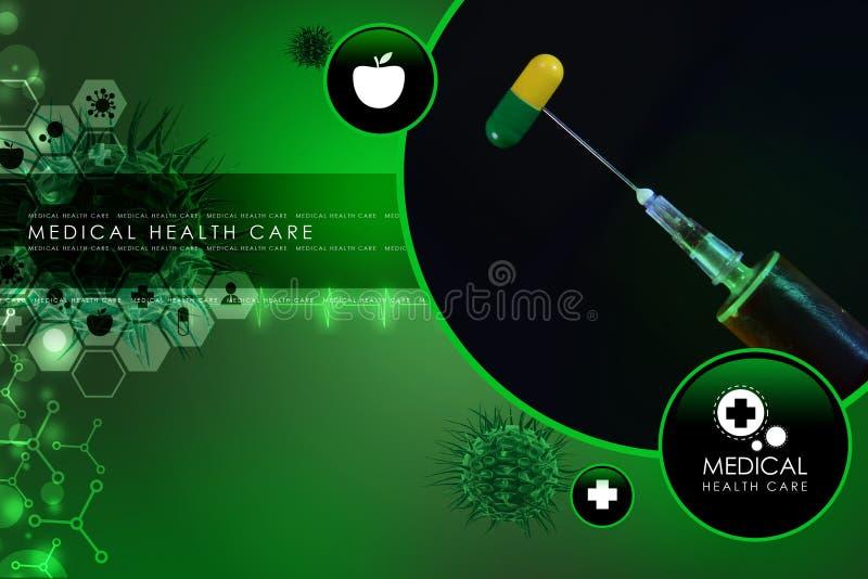 Spuit en geneeskunde royalty-vrije illustratie