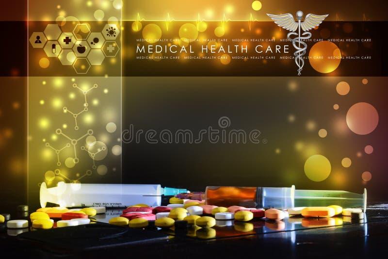 Spuit en geneeskunde stock afbeeldingen