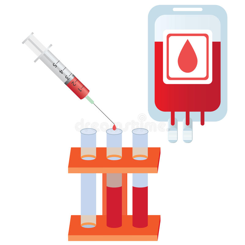 Spuit met bloed, buizen en zak met bloed. stock illustratie