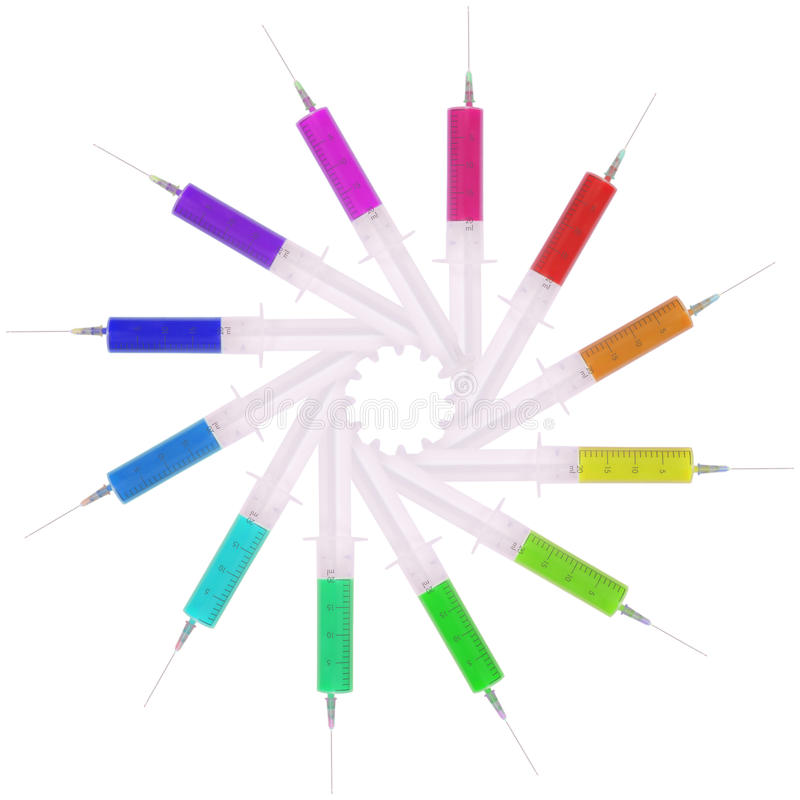 Spuit met multicolored geneeskunde stock afbeelding