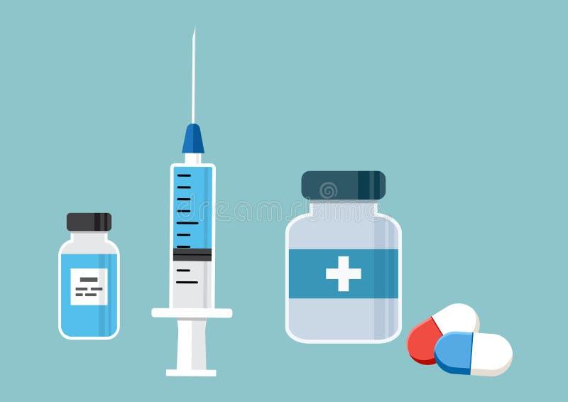 Spuit voor injectie met blauw vaccin, flesje van geneeskunde, en geneeskundefles en pillen, capsules Vector stock illustratie