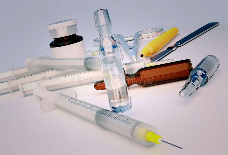 Spuiten, ampullen, schaar, scalpel, teller, flesje op de lijst wordt gevestigd die stock foto's