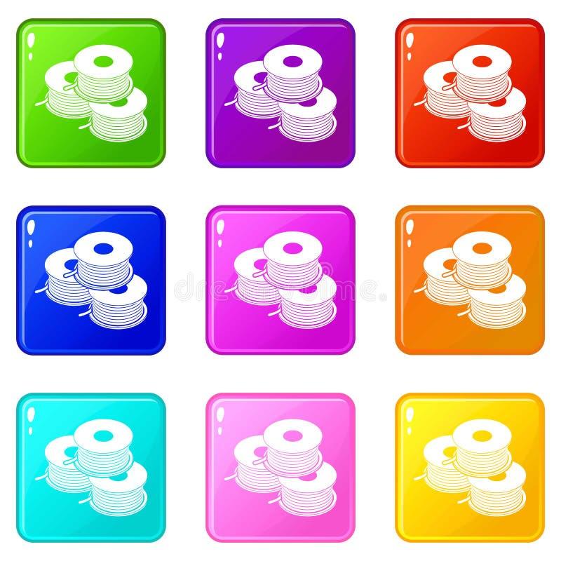 Spule für Sammlung des d-Druckerikonen-Satzes 9 Farb vektor abbildung