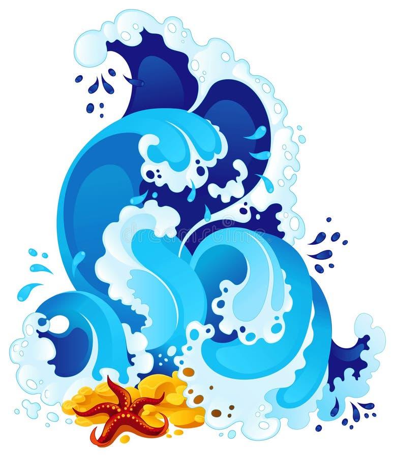 Spuma del mare nello stile decorativo illustrazione vettoriale