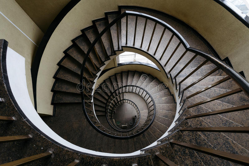 Download Spun Circular Staircase With A Handrail In A Building Without  People Stock Image   Image