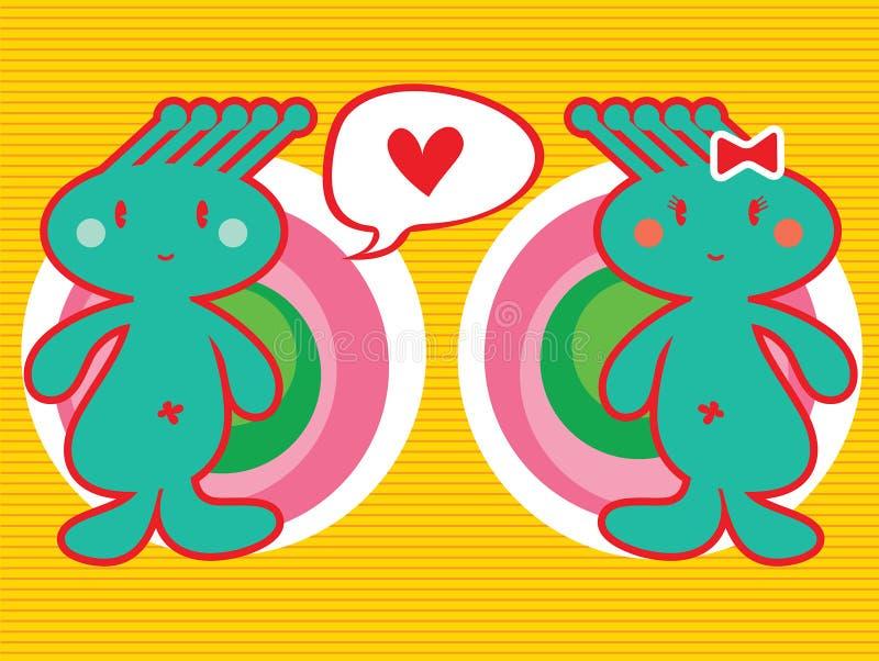 Spunky jongen houdt van spunky meisje vector illustratie