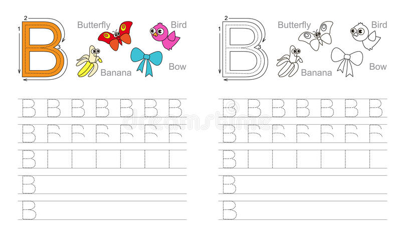 Spurarbeitsblatt Für Buchstaben B Vektor Abbildung - Illustration ...
