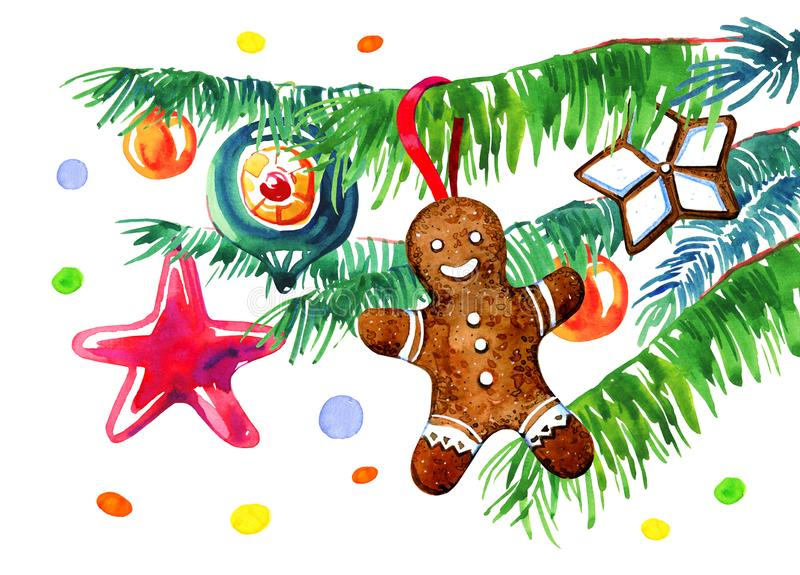Spurce  branches with gingerbread cookies and Christmas tree toys. Hand drawn sketch watercolor illustration. On white background vector illustration