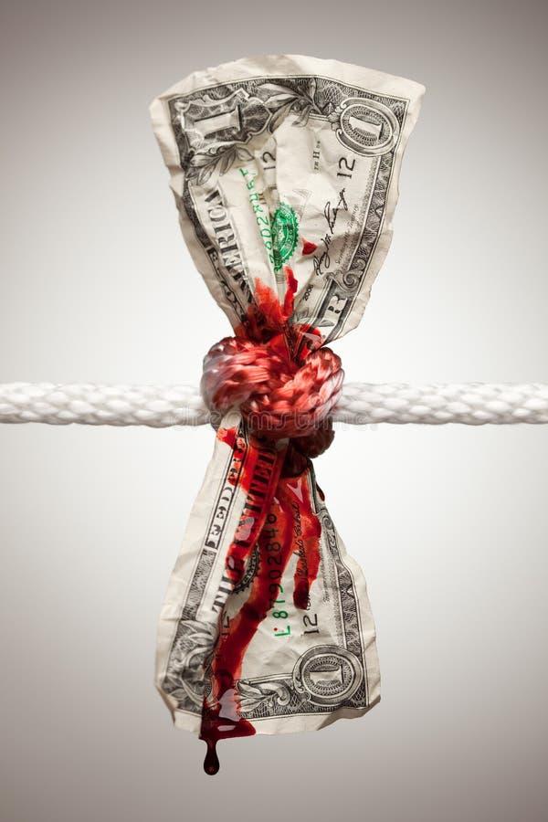 Spurgo americano spiegazzato del dollaro nella corda fotografie stock