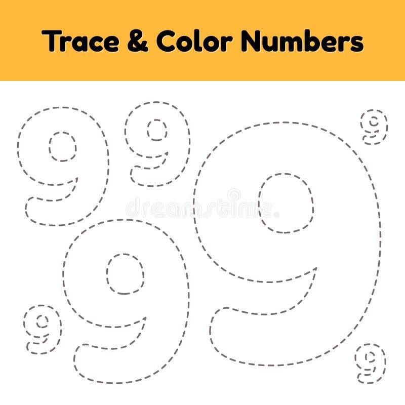 Spurnzeilennummer f?r Kindergarten- und preshoolkinder Schreiben Sie und färben Sie neun vektor abbildung