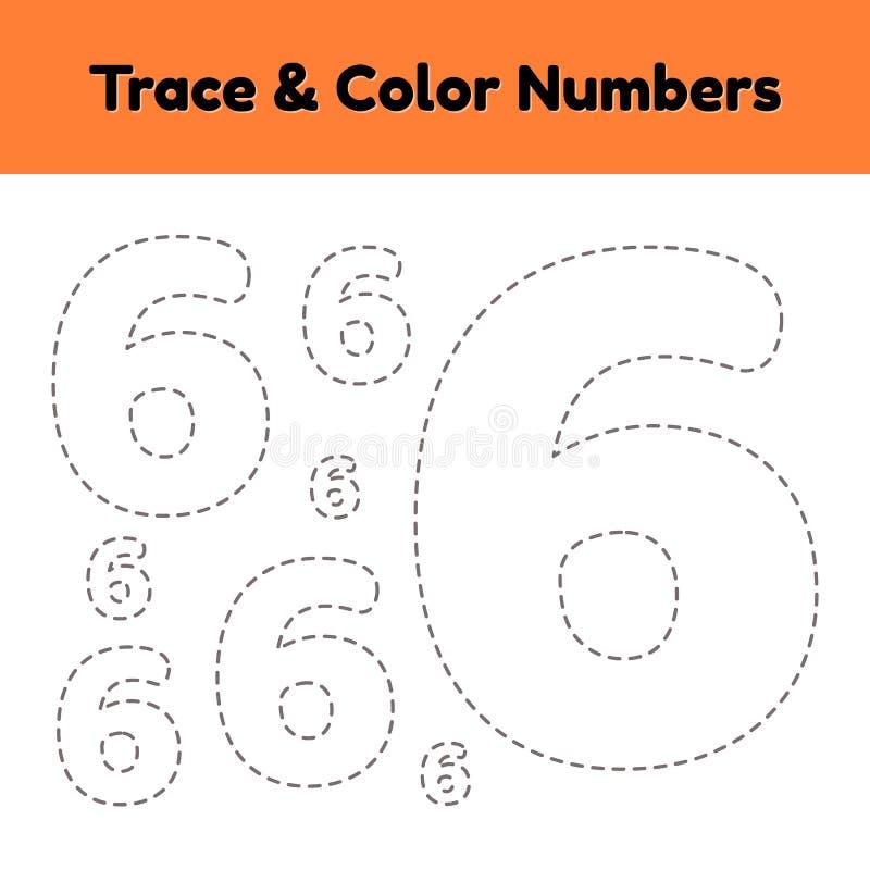 Spurnzeilennummer f?r Kindergarten- und preshoolkinder Schreiben Sie und färben Sie sechs vektor abbildung