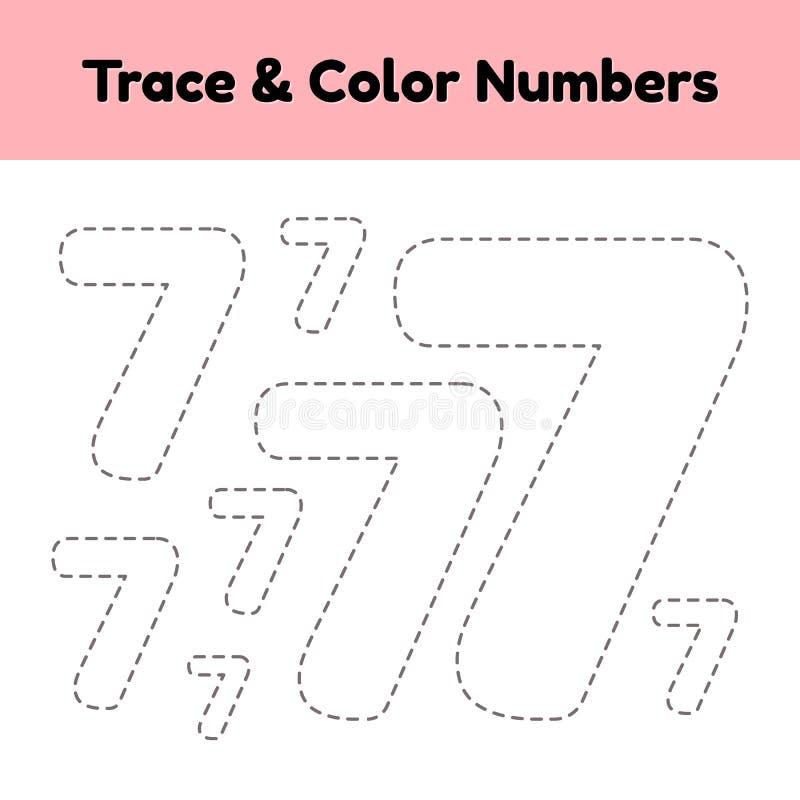 Spurnzeilennummer f?r Kindergarten- und preshoolkinder Schreiben Sie und färben Sie sieben lizenzfreie abbildung