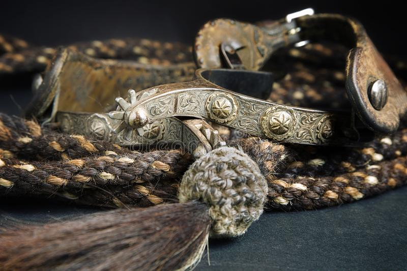 Spurs and Horse Hair reins stock photo