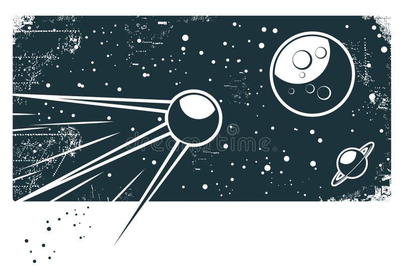 Sputnik en el espacio stock de ilustración