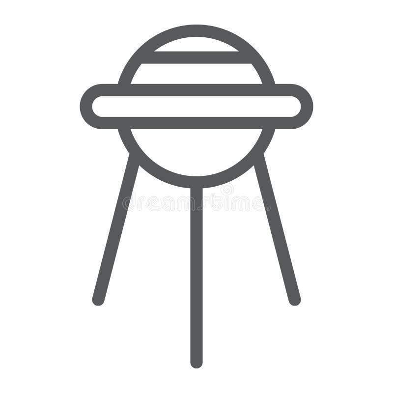 Sputniklinje symbol, utrymme och anslutning, satellit- tecken, vektordiagram, en linjär modell på en vit bakgrund stock illustrationer