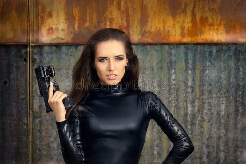 Download Spy Agent Woman In Black Leather Suit Holding Gun Stock Image - Image of costume  sc 1 st  Dreamstime.com & Spy Agent Woman In Black Leather Suit Holding Gun Stock Image ...