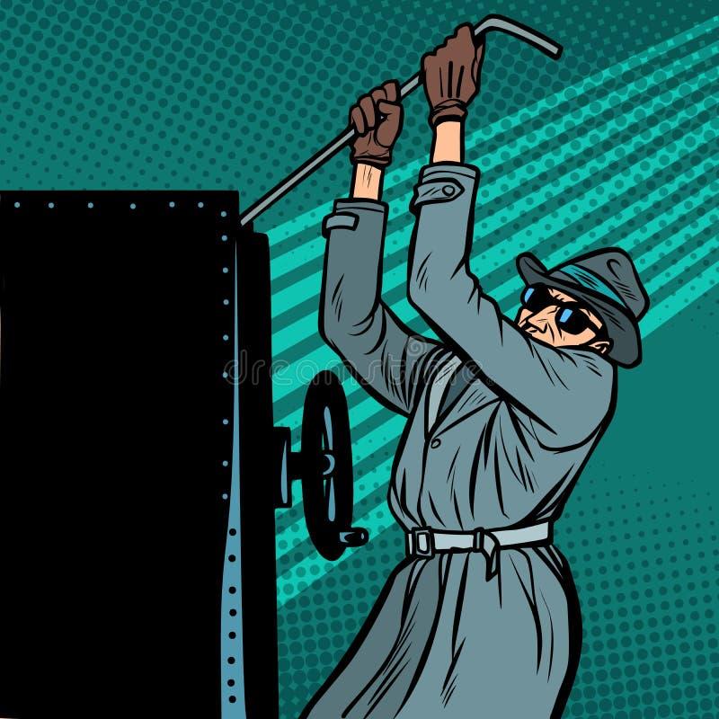 Spy breaks into safe. Comic cartoon pop art vector retro vintage drawing vector illustration