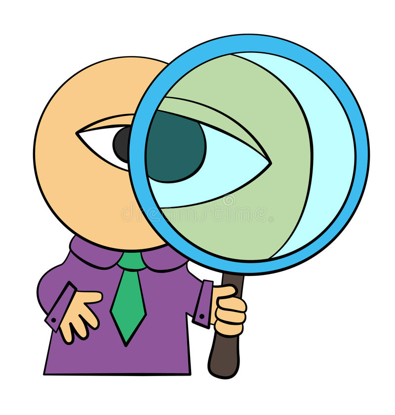 Spy business. A cartoon business man holding a giant magnifying glass vector illustration