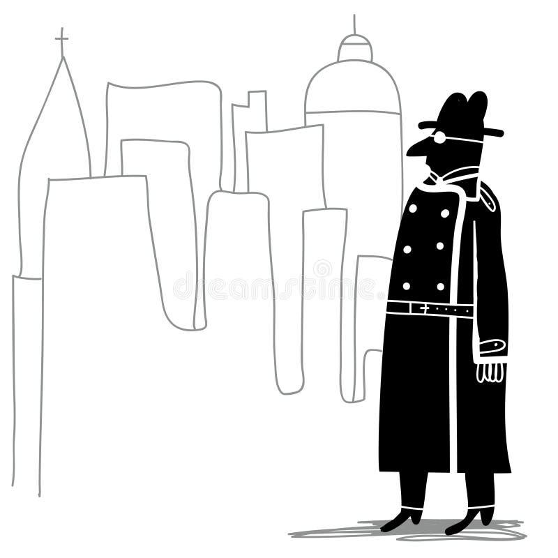 Spy in the city. Black spy in the city stock illustration