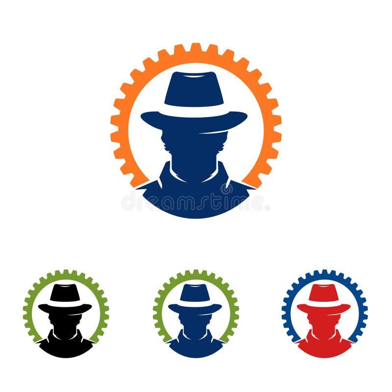 Spy Cowboy Head Circle Auto Gear Service Logo stock illustration