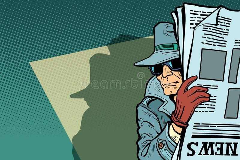 Spy detective in hat and sunglasses, newspaper vector illustration