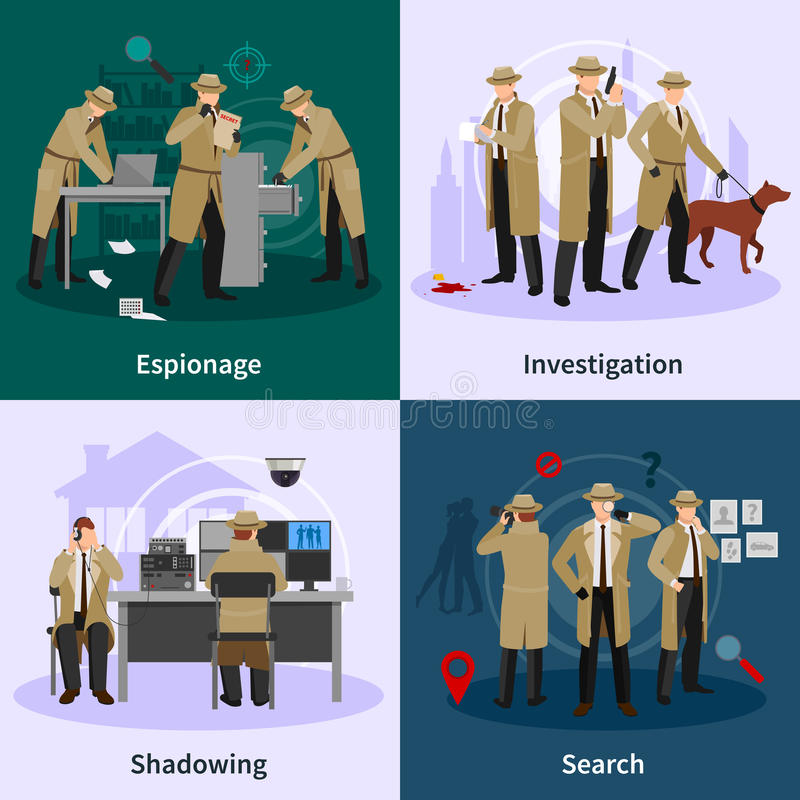 Spy Flat Concept. With detectives dressed in brown coat and involving in different professional situations vector illustration royalty free illustration