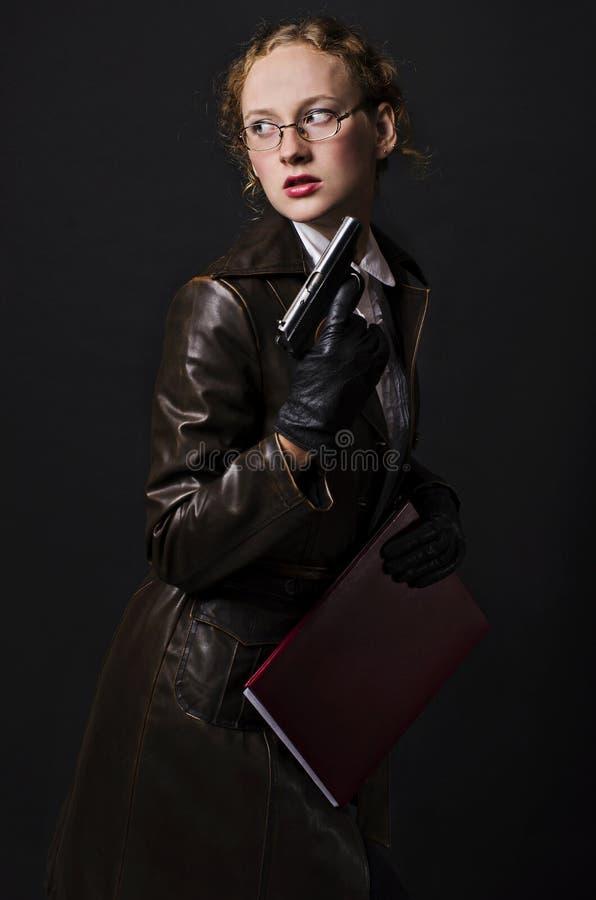 Free Spy Girl With Gun Stock Image - 22702131