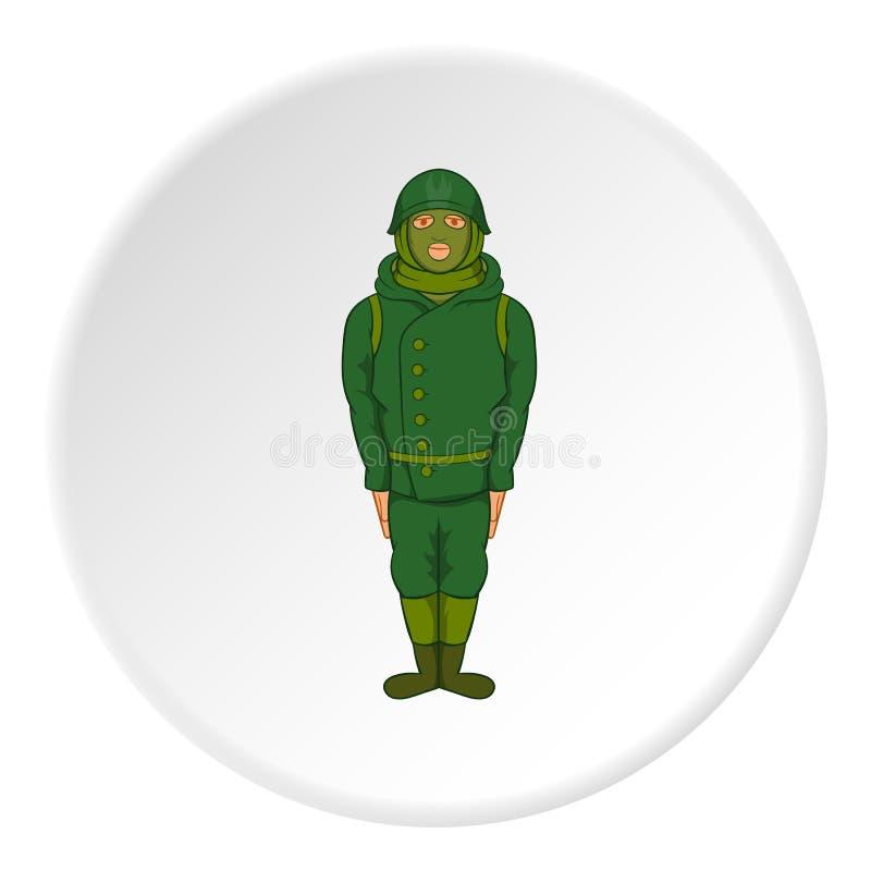 Spy icon, cartoon style. Spy icon in cartoon style isolated on white circle background. Military symbol illustration royalty free illustration