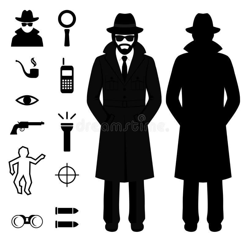 Spy icon, detective cartoon man, royalty free illustration