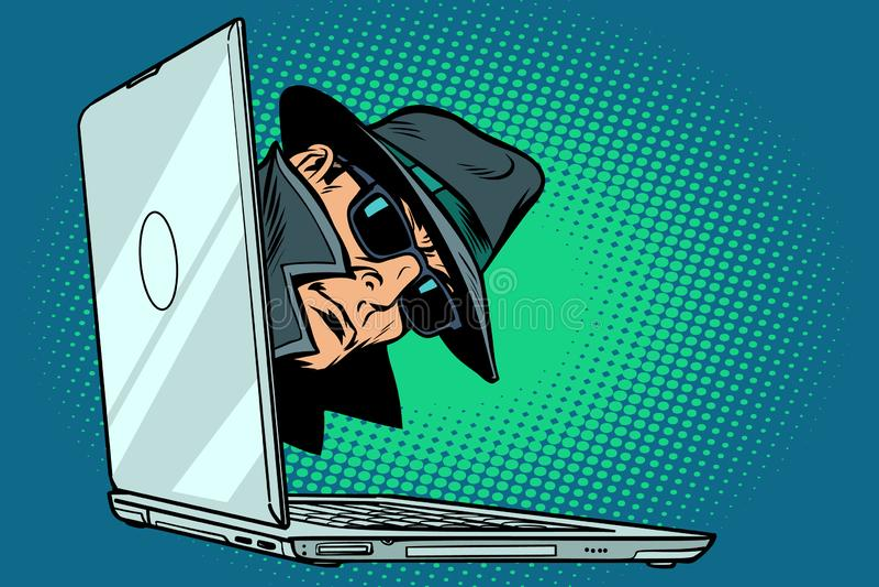 Spy. laptop computer. surveillance and hacking. Comic cartoon pop art retro vector illustration vector illustration
