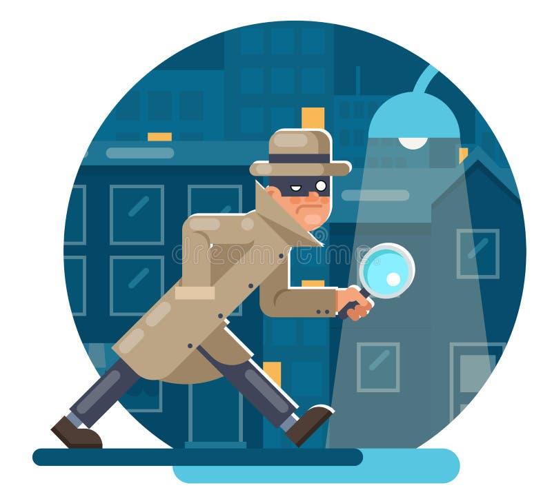 Spy magnifying glass mask detective cartoon character walk night city street background flat design vector illustration royalty free illustration