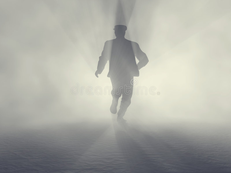Spy man. In fog, illustration