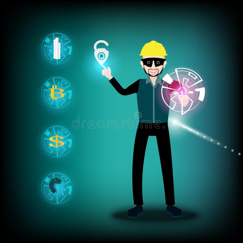 Spy man wearing a safety Helmets yellow color and tap on the unlock symbol. royalty free illustration