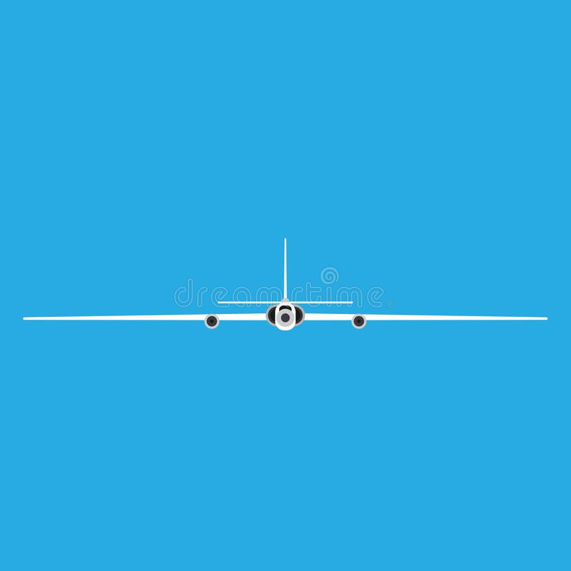 Spy plane front view vector icon. Drone aircraft aviation remote control. Fly RC jet equipment surveillance force vector illustration