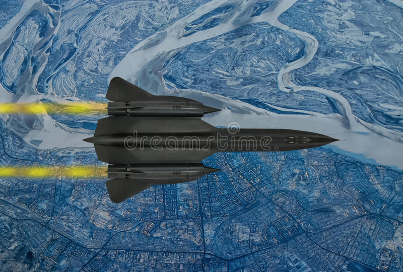 Spy plane from the 20th century. Digital painting of a `Blackbird` style 20th century advanced, long-range, Mach 3+ strategic reconnaissance aircraft stock illustration