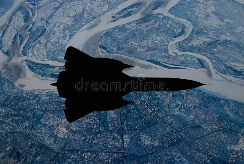 Spy plane from the 20th century. Digital painting of a `Blackbird` style 20th century advanced, long-range, Mach 3+ strategic reconnaissance aircraft royalty free illustration