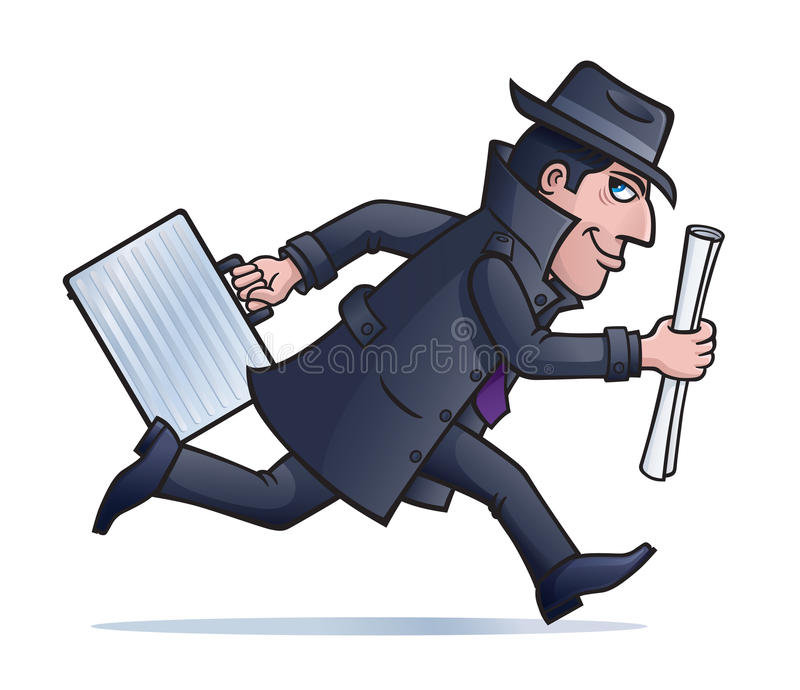 I Spy Cartoon Characters : Spy running with plans and briefcase stock image
