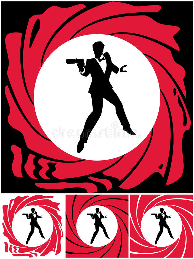 Spy. Silhouette of secret agent. No transparency and gradients used stock illustration