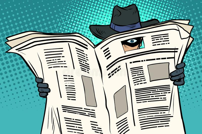 Spy watches through the newspaper stock illustration