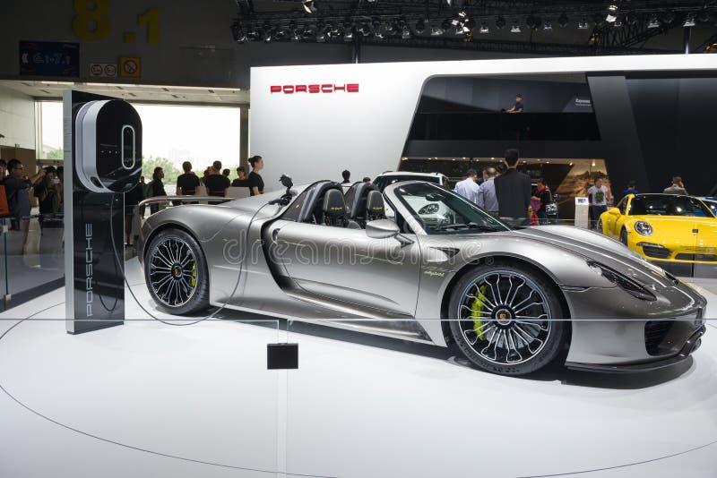 918 Spyder dall'automobile eccellente di Porsche nella mostra dell'automobile immagini stock