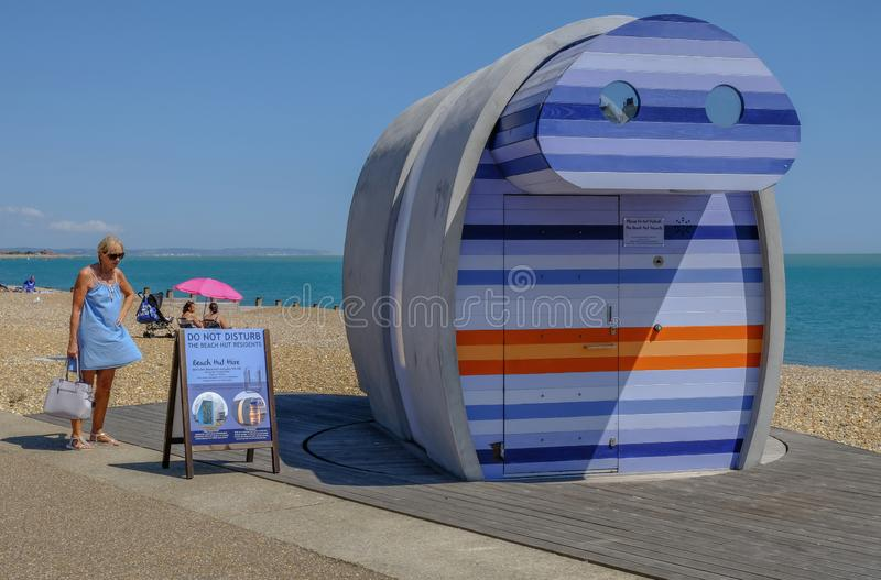 Spyglass, rentable beach hut at the seaside in Eastbourne stock photo